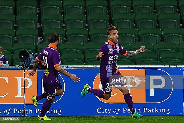 Adam Taggart of the Perth Glory celebrates a goal during the round one ALeague match between the Perth Glory and the Central Coast Mariners at nib...