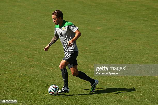 Adam Taggart of the Socceroos dribbles the ball during an Australian Socceroos training session at Arena Unimed Sicoob on June 1 2014 in Vitoria...