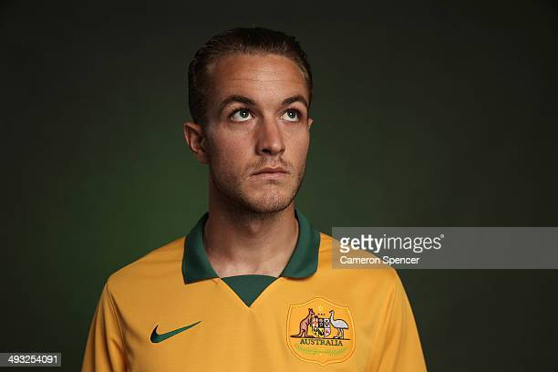Adam Taggart of the Socceroos poses during an Australian Socceroos portrait session at Crowne Plaza Terrigal on May 20 2014 in Sydney Australia