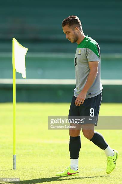 Adam Taggart of the Socceroos prepares for a drill during an Australian Socceroos training session and press conference at Estadio Couto Pereira on...