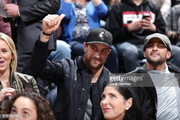 Adam Thielen of the Minnesota Vikings attends the game between the Minnesota Timberwolves and the Miami Heat on November 24 2017 at Target Center in...