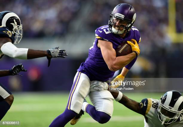Adam Thielen of the Minnesota Vikings carries the ball in the second half of the game against the Los Angeles Rams on November 19 2017 at US Bank...