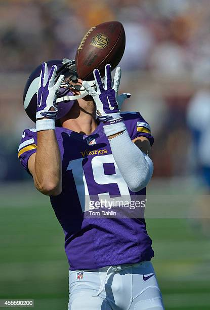 Adam Thielen of the Minnesota Vikings catches the ball during warmups prior to an NFL game against the New England Patriots at TCF Bank Stadium on...