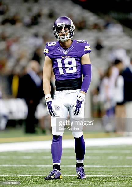 Adam Thielen of the Minnesota Vikings looks on as his team takes on the New Orleans Saints at the MercedesBenz Superdome on September 21 2014 in New...
