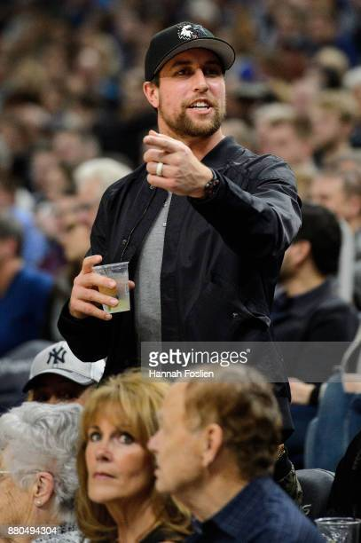 Adam Thielen of the Minnesota Vikings looks on during the game between the Minnesota Timberwolves and the Miami Heat on November 24 2017 at the...