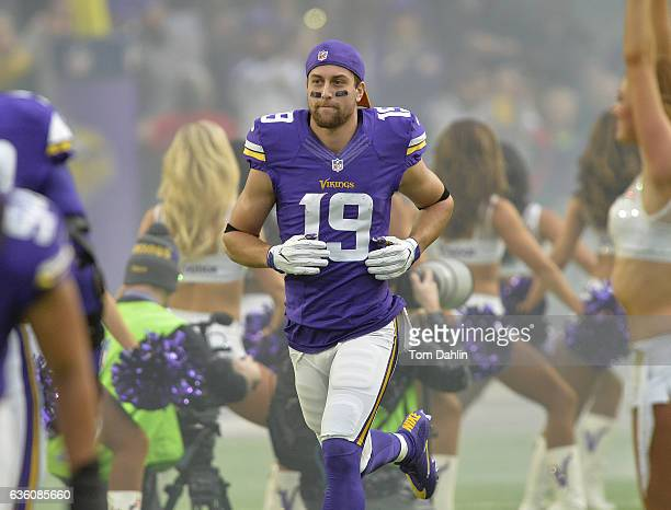 Adam Thielen of the Minnesota Vikings runs onto the field prior to an NFL game against the Indianapolis Colts at US Bank Stadium on December 18 2016...