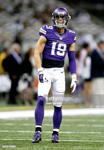 Adam Thielen of the Minnesota Vikings warms up before his team takes on the New Orleans Saints at the MercedesBenz Superdome on September 21 2014 in...