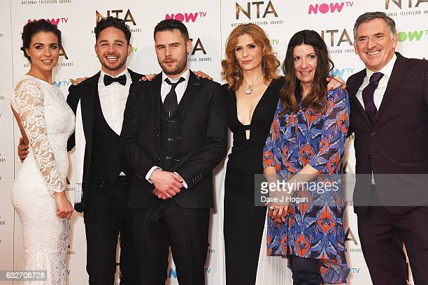 Adam Thomas Danny Miller Samantha Giles Kathryn Dow Blyton and Tony Audenshaw of Emmerdale pose in the winners room at the National Television Awards...