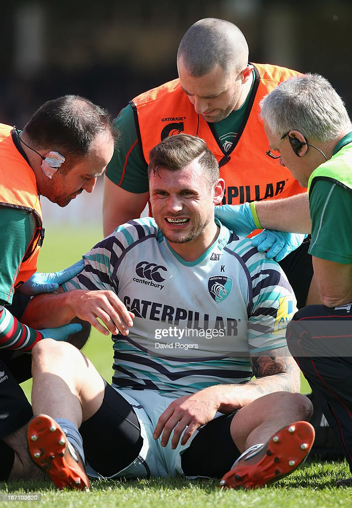 Adam Thompston of Leicester receives attention during the Aviva Premiership match between Bath and Leicester Tigers at the Recreation Ground on April 20, 2013 in Bath, England.