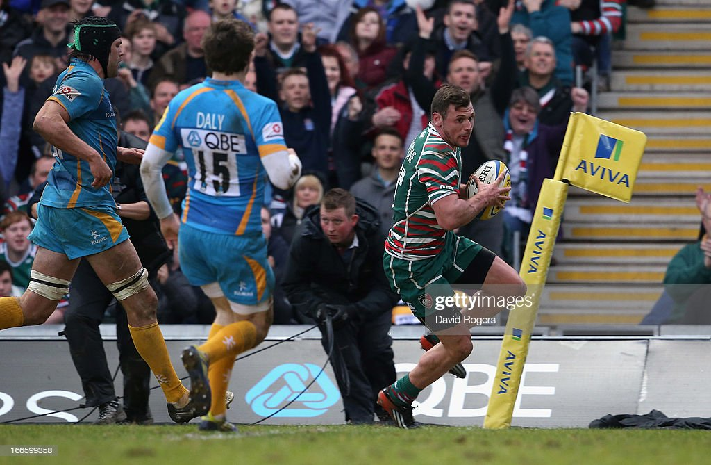 Adam Thompstone of Leicester breaks clear to score a try during the Aviva Premiership match between Leicester Tigers and London Wasps at Welford Road on April 14, 2013 in Leicester, England.
