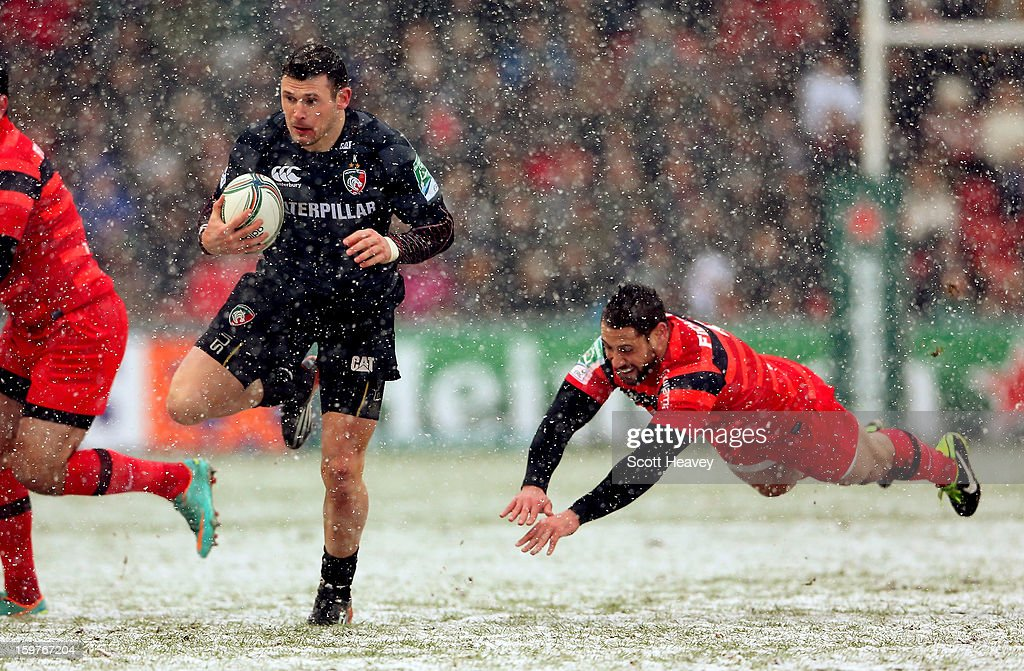 Adam Thompstone of Leicester in action during the Heineken Cup match between Leicester Tigers and Toulouse at Welford Road on January 20, 2013 in Leicester, England.