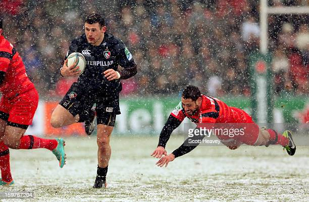 Adam Thompstone of Leicester in action during the Heineken Cup match between Leicester Tigers and Toulouse at Welford Road on January 20 2013 in...