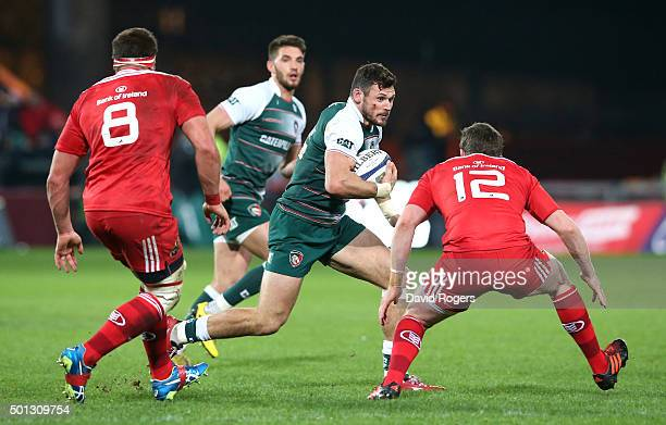 Adam Thompstone of Leicester runs with the ball during the European Rugby Champions Cup match between Munster and Leicester Tigers at Thomond Park on...