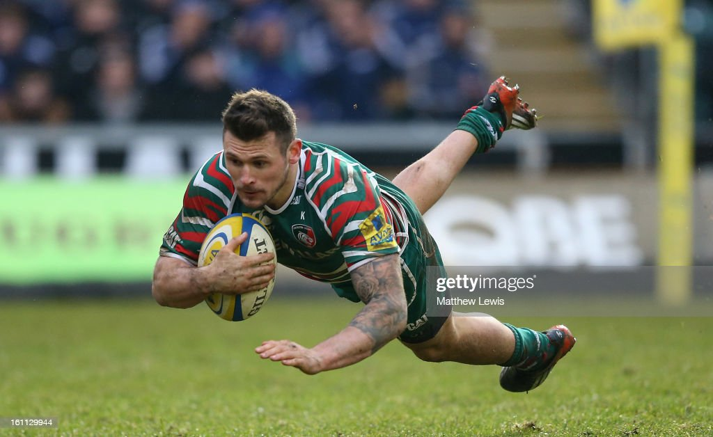 Adam Thompstone of Leicester scores a try during the Aviva Premiership match between Leicester Tigers and London Welsh at Welford Road on February 9, 2013 in Leicester, England.