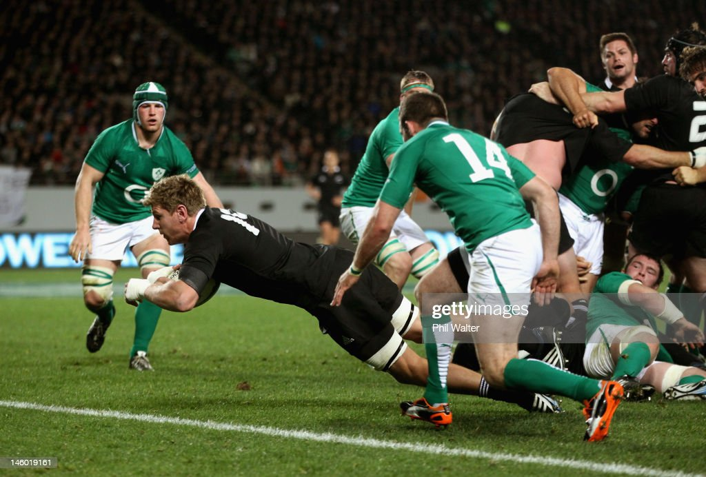 Adam Thomson of the All Blacks scores a try during the International Test Match between the New Zealand All Blacks and Ireland at Eden Park on June 9, 2012 in Auckland, New Zealand.