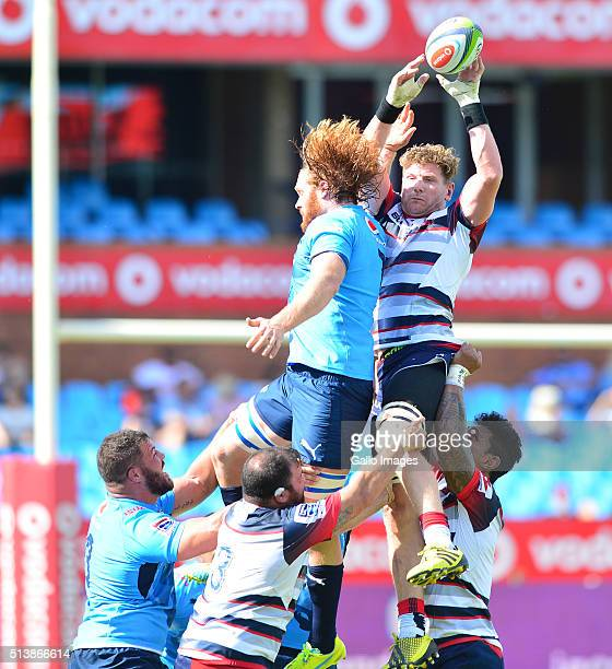 Adam Thomson of the Rebels in action during the 2016 Super Rugby match between Vodacom Bulls and Rebels at Loftus Versfeld on March 05 2016 in...