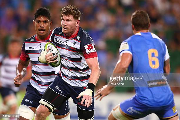 Adam Thomson of the Rebels looks to make a break during the round one Super Rugby match between the Force and the Rebels at nib Stadium on February...