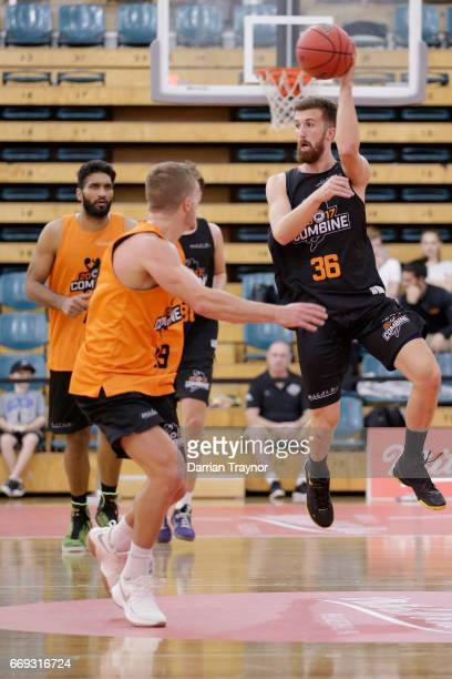 Adam Thoseby passes the ball during the NBL Combine 2017/18 at Melbourne Sports and Aquatic Centre on April 17 2017 in Melbourne Australia