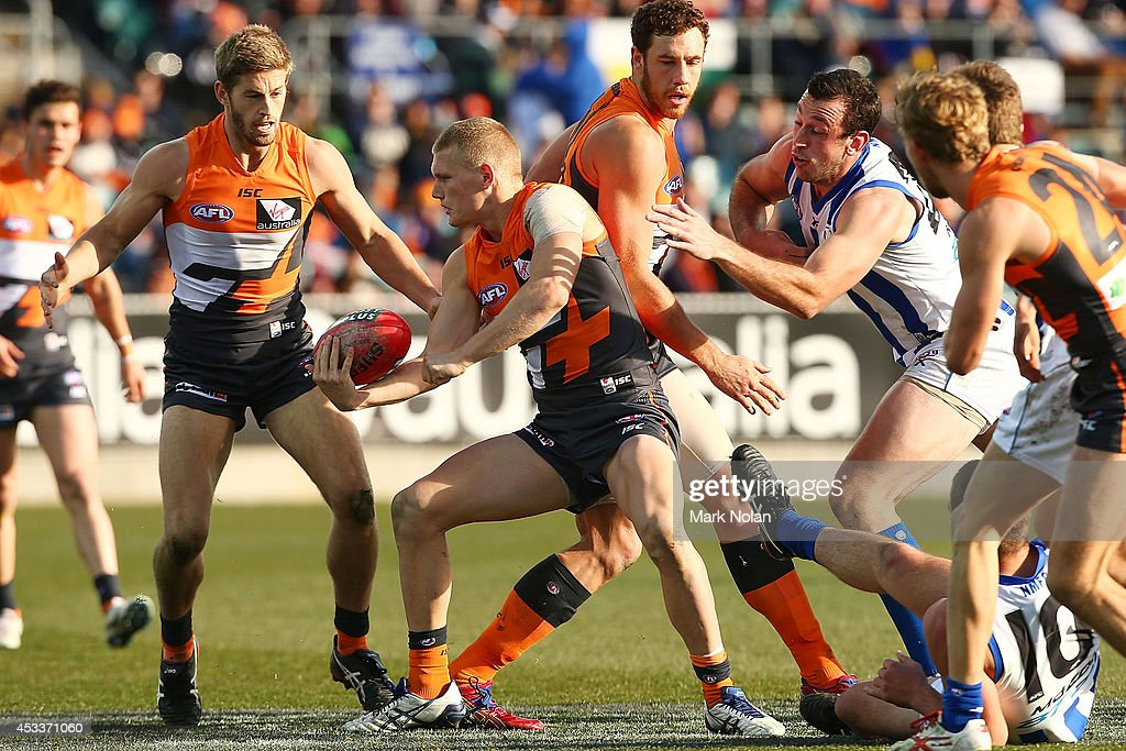 Adam Treloar of the Giants handballs during the round 20 AFL match between the Greater Western Sydney Giants and the North Melbourne Kangaroos at Stratrack Oval on August 9, 2014 in Canberra, Australia.