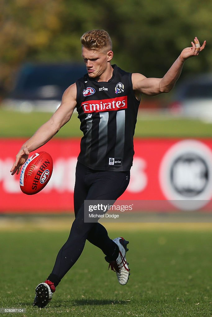Adam Treloar of the Magpies kicks the ball during a Collingwood Magpies AFL training session on May 5, 2016 in Melbourne, Australia.