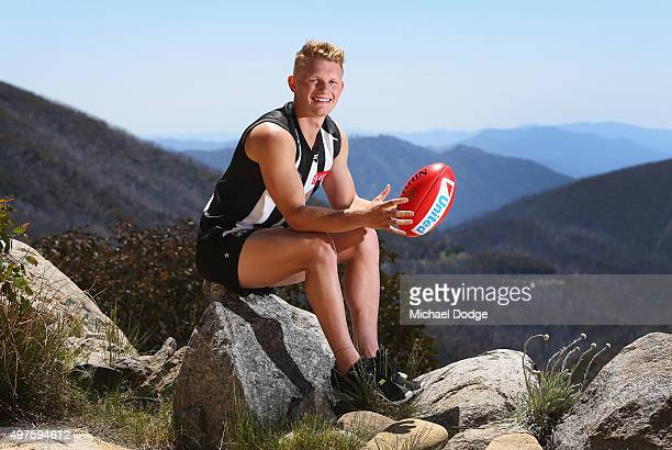 Adam Treloar poses during a Collingwood Magpies AFL preseason training camp at Falls Creek on November 18 2015 in Falls Creek Australia