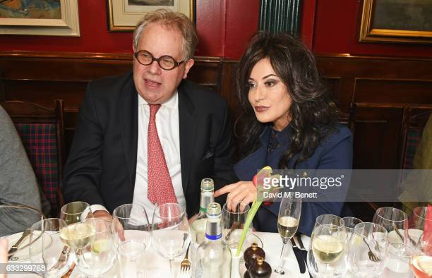 Adam Trumpington and Nancy Dell'Olio attend Boisdale Life Magazine's inaugural 'Editors Lunch' at Boisdale Of Belgravia on February 1 2017 in London...
