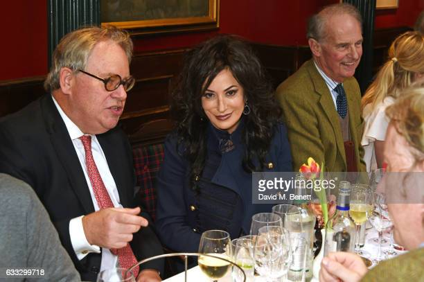 Adam Trumpington Nancy Dell'olio and Nikolai Tolstoy attend Boisdale Life Magazine's inaugural 'Editors Lunch' at Boisdale Of Belgravia on February 1...