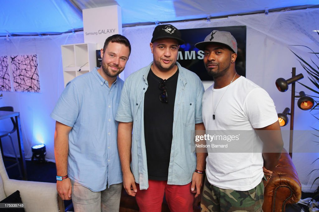 Adam Tune, Jr. Flo, and Adam Tune of Keys N Krates at the Samsung Galaxy Artist Lounge at Lollapalooza on August 2, 2013 in Chicago City.
