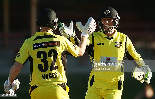 Adam Voges and Sam Whiteman of the Warriors celebrate victory in the Matador BBQs One Day Cup match between Tasmania and Western Australia at North...