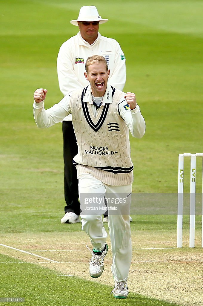 <a gi-track='captionPersonalityLinkClicked' href=/galleries/search?phrase=Adam+Voges&family=editorial&specificpeople=724770 ng-click='$event.stopPropagation()'>Adam Voges</a> celebrates getting the wicket of Keaton Jennings of Durham during day three of the LV County Championship match between Middlesex and Durham at Lord's Cricket Ground on May 4, 2015 in London, England.
