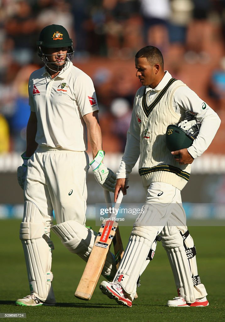 <a gi-track='captionPersonalityLinkClicked' href=/galleries/search?phrase=Adam+Voges&family=editorial&specificpeople=724770 ng-click='$event.stopPropagation()'>Adam Voges</a> of Australia and <a gi-track='captionPersonalityLinkClicked' href=/galleries/search?phrase=Usman+Khawaja&family=editorial&specificpeople=4953179 ng-click='$event.stopPropagation()'>Usman Khawaja</a> of Australia walk from the ground at stumps during day one of the Test match between New Zealand and Australia at Basin Reserve on February 12, 2016 in Wellington, New Zealand.