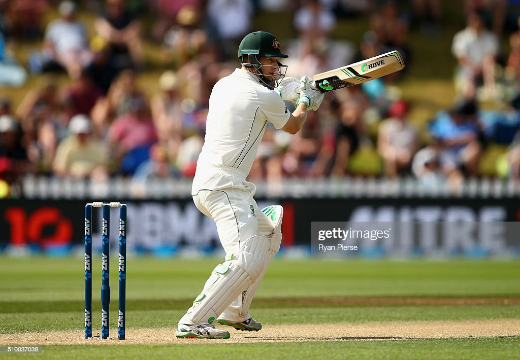 Adam Voges of Australia bats during day three of the Test match between New Zealand and Australia at Basin Reserve on February 14, 2016 in Wellington, New Zealand.