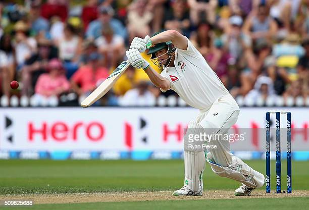 Adam Voges of Australia bats during day two of the Test match between New Zealand and Australia at Basin Reserve on February 13 2016 in Wellington...