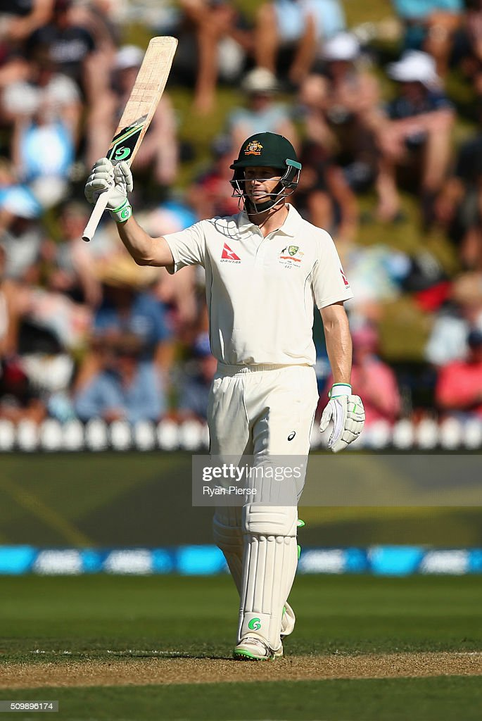 <a gi-track='captionPersonalityLinkClicked' href=/galleries/search?phrase=Adam+Voges&family=editorial&specificpeople=724770 ng-click='$event.stopPropagation()'>Adam Voges</a> of Australia celebrates after reaching his 150 runs during day two of the Test match between New Zealand and Australia at Basin Reserve on February 13, 2016 in Wellington, New Zealand.