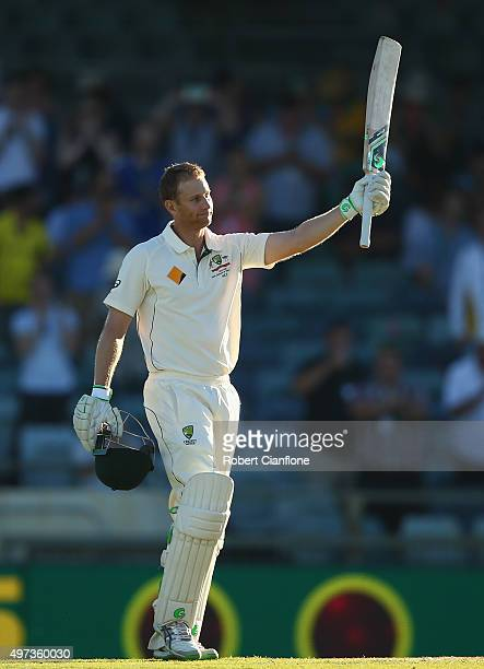 Adam Voges of Australia celebrates after reaching his century during day four of the second Test match between Australia and New Zealand at the WACA...