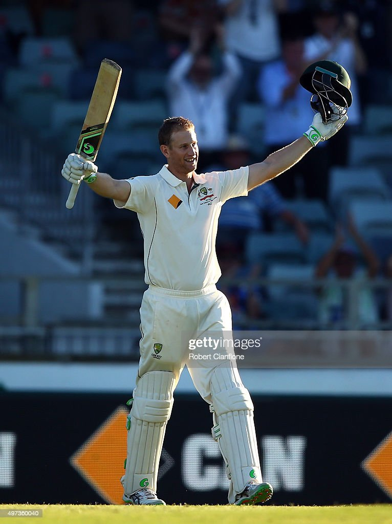 <a gi-track='captionPersonalityLinkClicked' href=/galleries/search?phrase=Adam+Voges&family=editorial&specificpeople=724770 ng-click='$event.stopPropagation()'>Adam Voges</a> of Australia celebrates after reaching his century during day four of the second Test match between Australia and New Zealand at the WACA on November 16, 2015 in Perth, Australia.