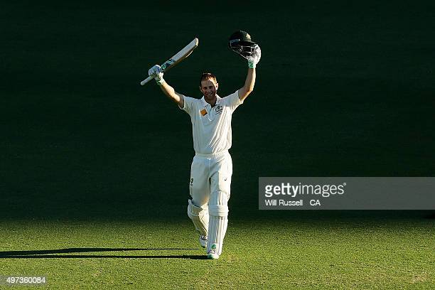 Adam Voges of Australia celebrates after reaching his century during day four of the second Test match between Australia and New Zealand at WACA on...