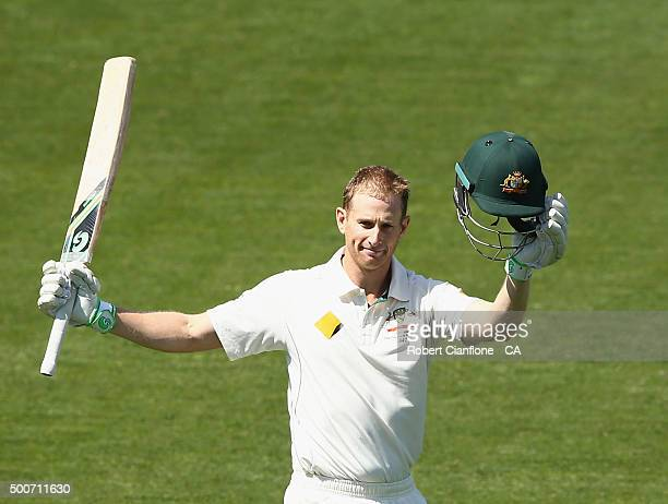 Adam Voges of Australia celebrates after reaching his century during day one of the First Test match between Australia and the West Indies at...