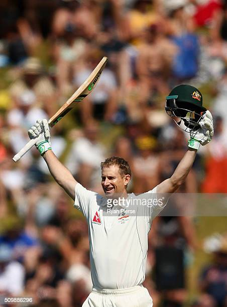 Adam Voges of Australia celebrates after reaching his century during day two of the Test match between New Zealand and Australia at Basin Reserve on...