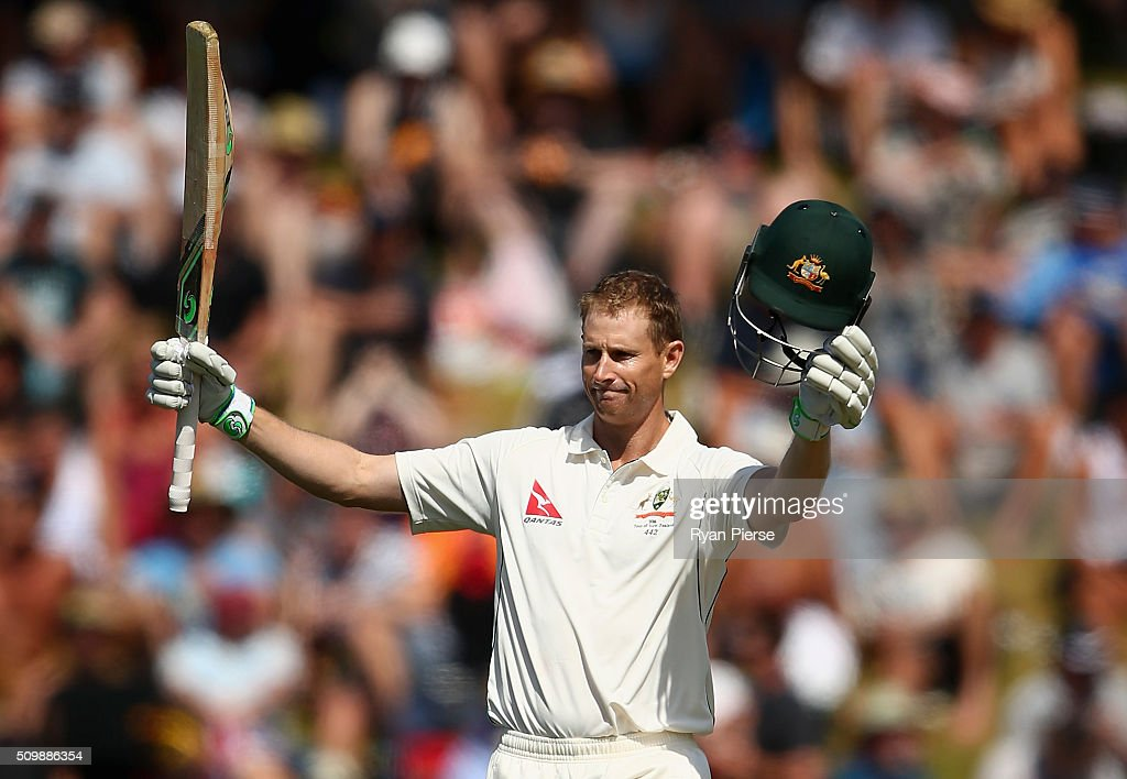 <a gi-track='captionPersonalityLinkClicked' href=/galleries/search?phrase=Adam+Voges&family=editorial&specificpeople=724770 ng-click='$event.stopPropagation()'>Adam Voges</a> of Australia celebrates after reaching his century during day two of the Test match between New Zealand and Australia at Basin Reserve on February 13, 2016 in Wellington, New Zealand.