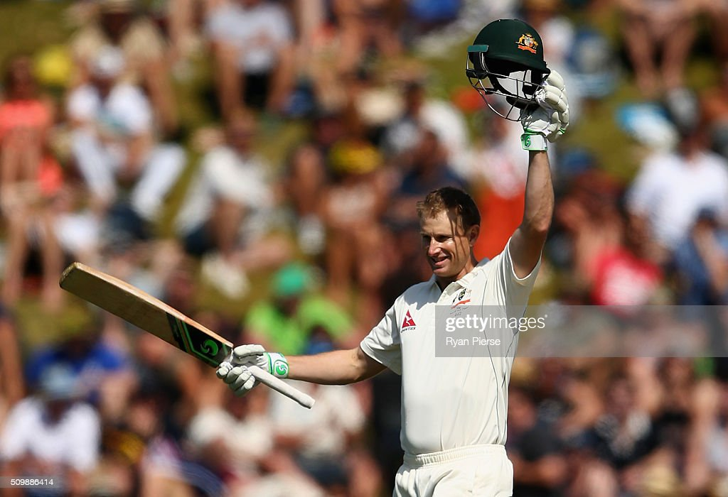 Adam Voges of Australia celebrates after reaching his century during day two of the Test match between New Zealand and Australia at Basin Reserve on February 13, 2016 in Wellington, New Zealand.