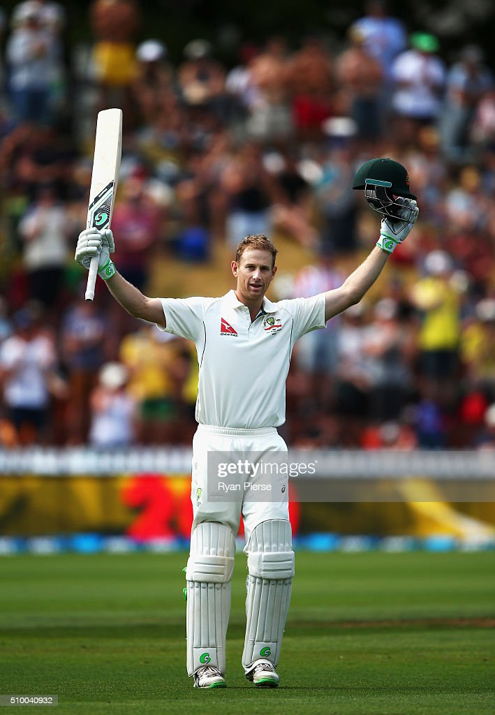 <a gi-track='captionPersonalityLinkClicked' href=/galleries/search?phrase=Adam+Voges&family=editorial&specificpeople=724770 ng-click='$event.stopPropagation()'>Adam Voges</a> of Australia celebrates after reaching his double century during day three of the Test match between New Zealand and Australia at Basin Reserve on February 14, 2016 in Wellington, New Zealand.