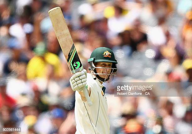 Adam Voges of Australia celebrates after reaching his half century during day two of the Second Test match between Australia and the West Indies at...