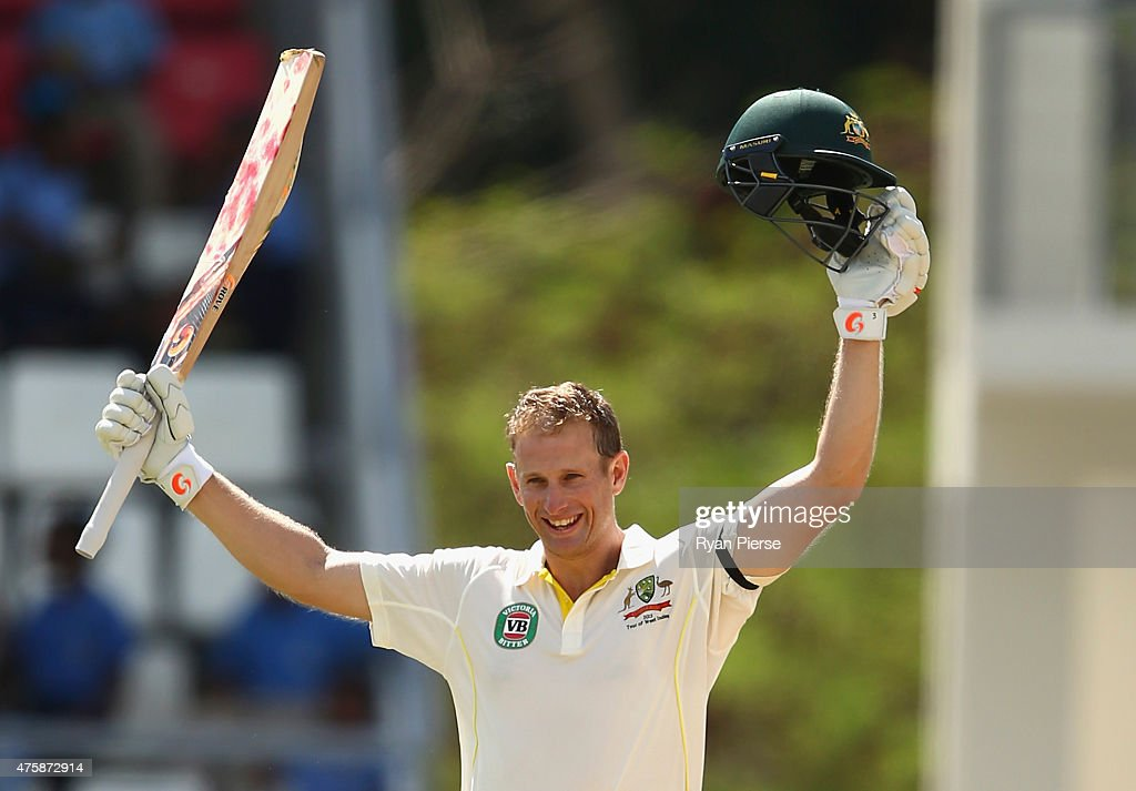 <a gi-track='captionPersonalityLinkClicked' href=/galleries/search?phrase=Adam+Voges&family=editorial&specificpeople=724770 ng-click='$event.stopPropagation()'>Adam Voges</a> of Australia celebrates after reaching his maiden century in his debut test during day two of the First Test match between Australia and the West Indies at Windsor Park on June 4, 2015 in Roseau, Dominica.