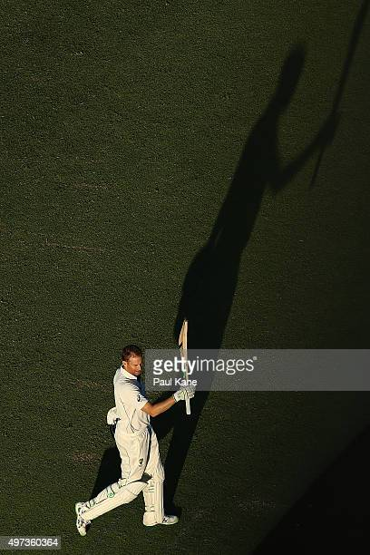 Adam Voges of Australia celebrates after scoring his century during day four of the second Test match between Australia and New Zealand at WACA on...