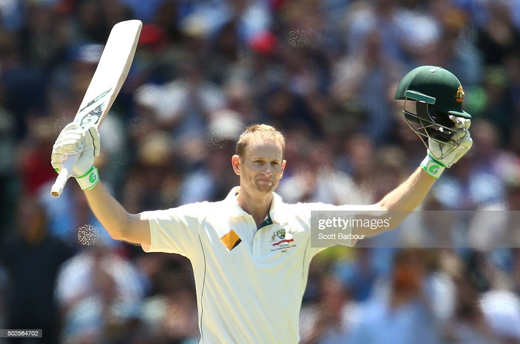 <a gi-track='captionPersonalityLinkClicked' href=/galleries/search?phrase=Adam+Voges&family=editorial&specificpeople=724770 ng-click='$event.stopPropagation()'>Adam Voges</a> of Australia celebrates as he reaches his century during day two of the Second Test match between Australia and the West Indies at the Melbourne Cricket Ground on December 27, 2015 in Melbourne, Australia.