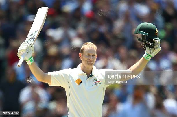 Adam Voges of Australia celebrates as he reaches his century during day two of the Second Test match between Australia and the West Indies at the...