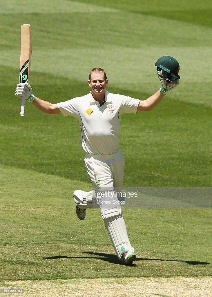 <a gi-track='captionPersonalityLinkClicked' href=/galleries/search?phrase=Adam+Voges&family=editorial&specificpeople=724770 ng-click='$event.stopPropagation()'>Adam Voges</a> of Australia celebrates his century during day two of the Second Test match between Australia and the West Indies at Melbourne Cricket Ground on December 27, 2015 in Melbourne, Australia.