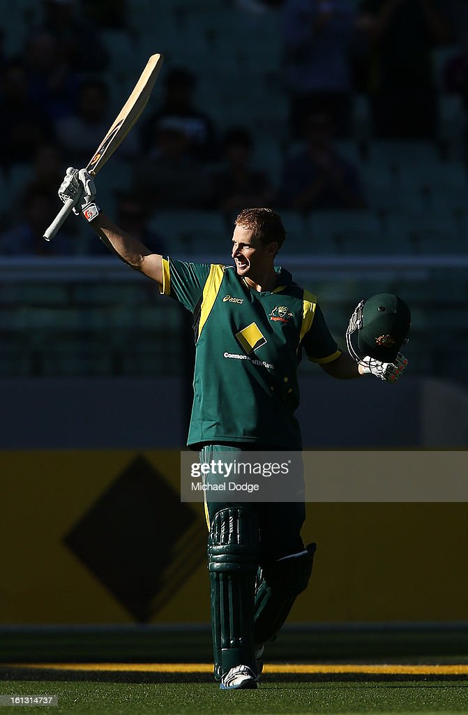 <a gi-track='captionPersonalityLinkClicked' href=/galleries/search?phrase=Adam+Voges&family=editorial&specificpeople=724770 ng-click='$event.stopPropagation()'>Adam Voges</a> of Australia celebrates his century during game five of the Commonwealth Bank International Series between Australia and the West Indies at Melbourne Cricket Ground on February 10, 2013 in Melbourne, Australia.