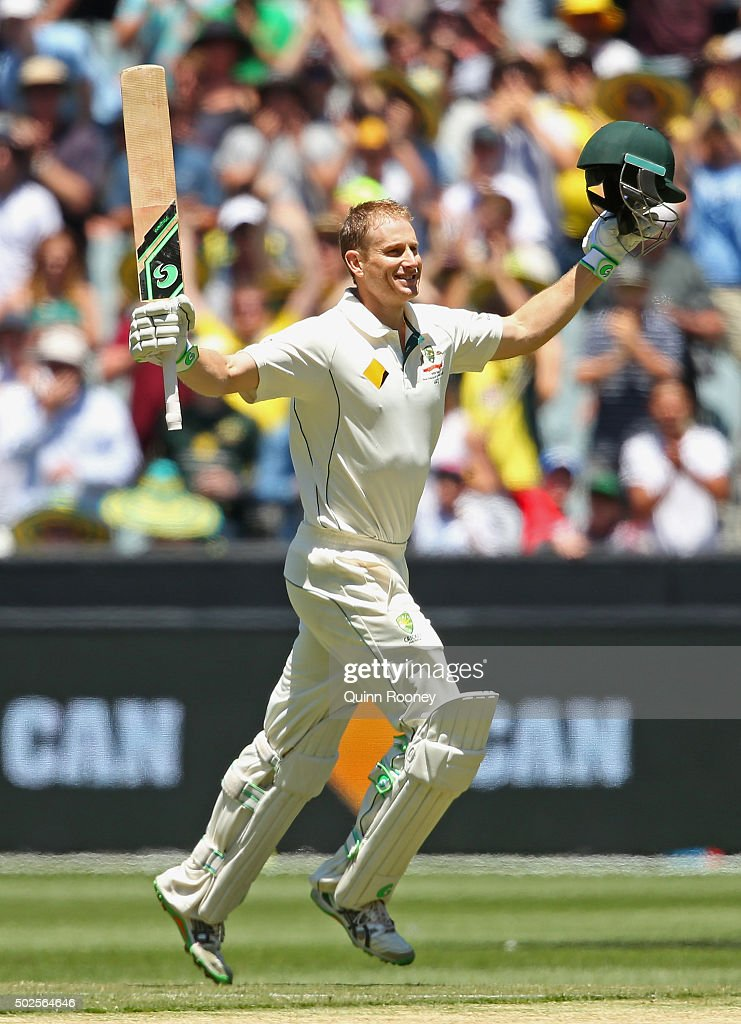 <a gi-track='captionPersonalityLinkClicked' href=/galleries/search?phrase=Adam+Voges&family=editorial&specificpeople=724770 ng-click='$event.stopPropagation()'>Adam Voges</a> of Australia celebrates making a century during day two of the Second Test match between Australia and the West Indies at Melbourne Cricket Ground on December 27, 2015 in Melbourne, Australia.